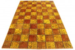 Patchwork Teppich Orange Rot in 240x160cm