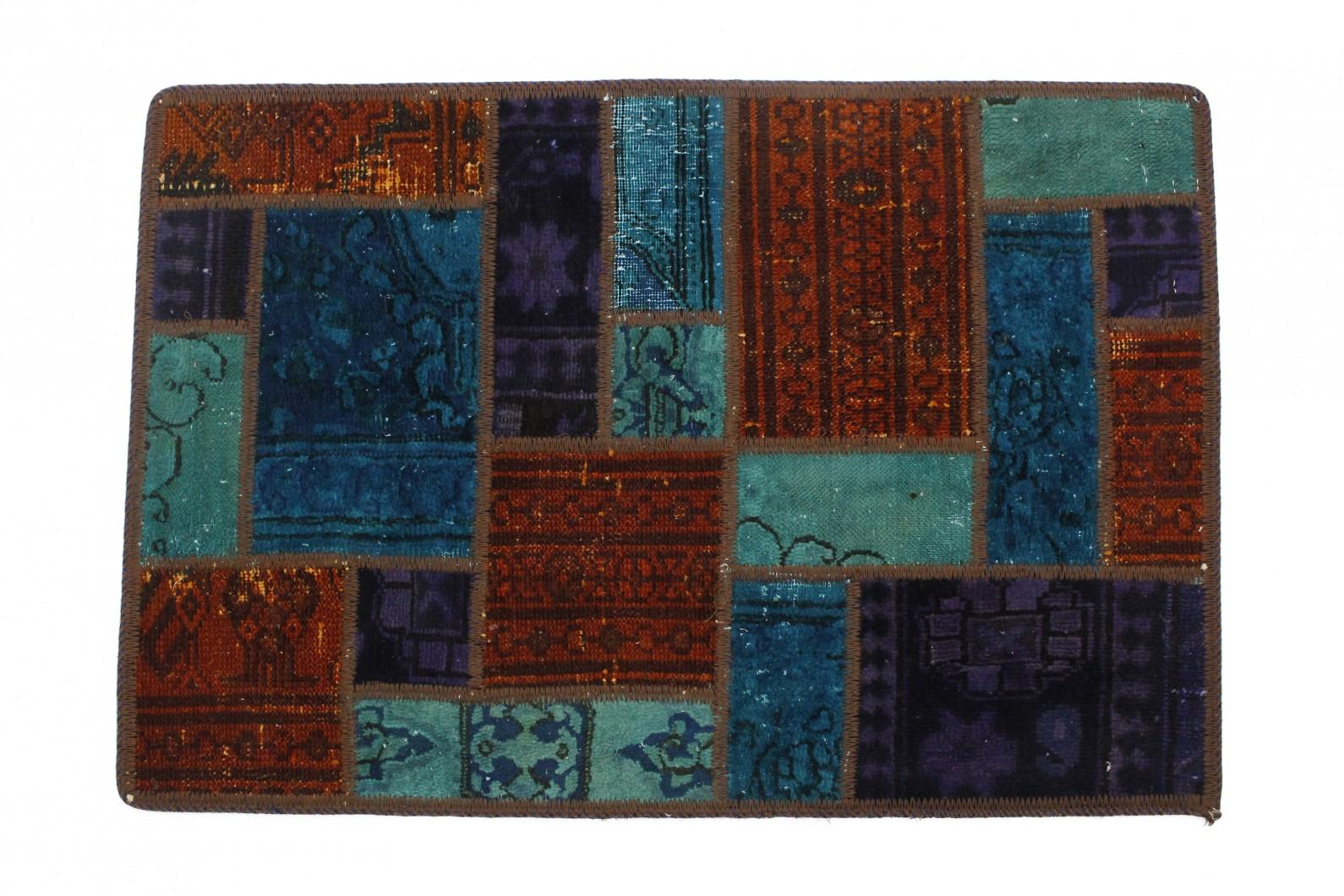 Patchwork Teppich Türkis Rot in 90x60 (1 / 2)