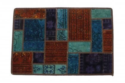 Patchwork Rug Turquoise Red in 90x60