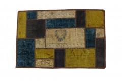 Patchwork Teppich Beige Türkis in 90x60