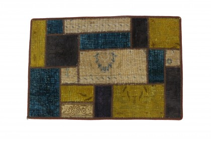 Patchwork Rug Beige Turquoise in 90x60