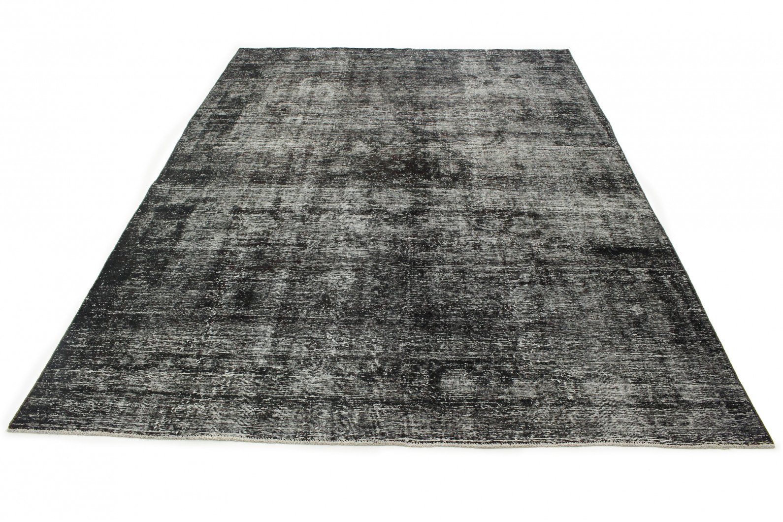 Vintage Teppich Schwarz Grau in 360x260