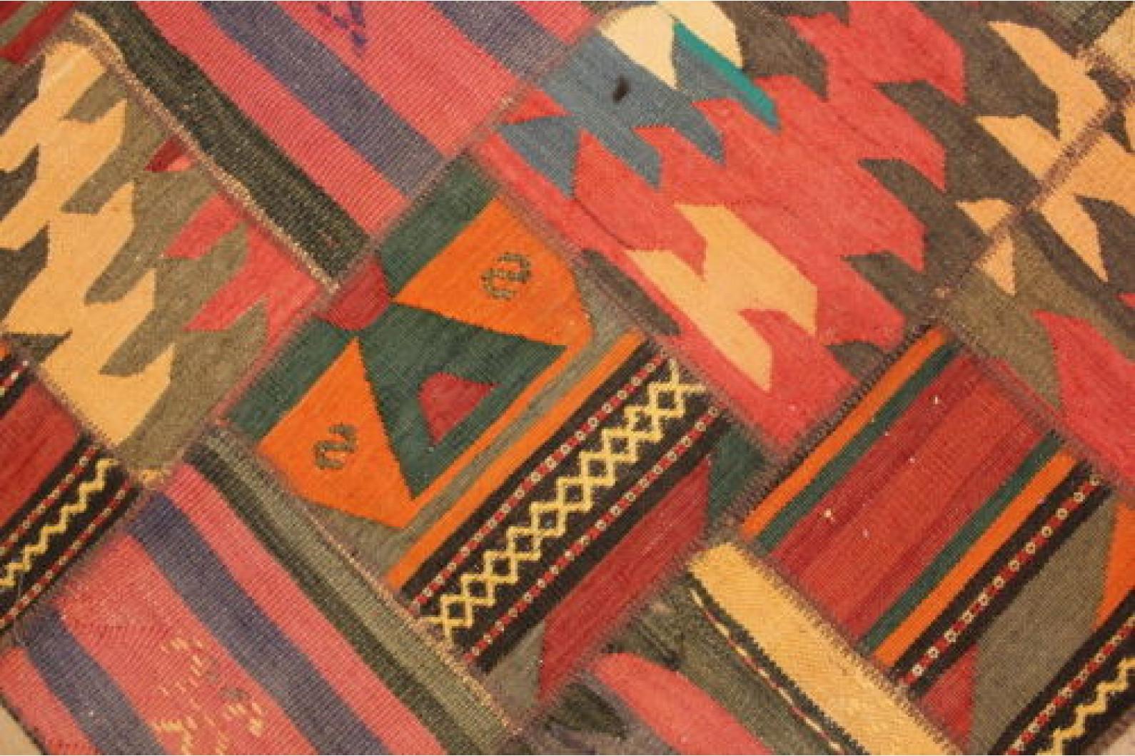 kelim patchwork teppich braun rot in 200x150cm 1001 6688. Black Bedroom Furniture Sets. Home Design Ideas