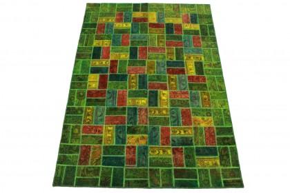 Patchwork Teppich Grün Rot Gelb in 250x160cm 1001-8014
