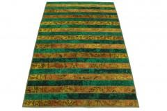 Patchwork Teppich Orange Grün in 250x160cm
