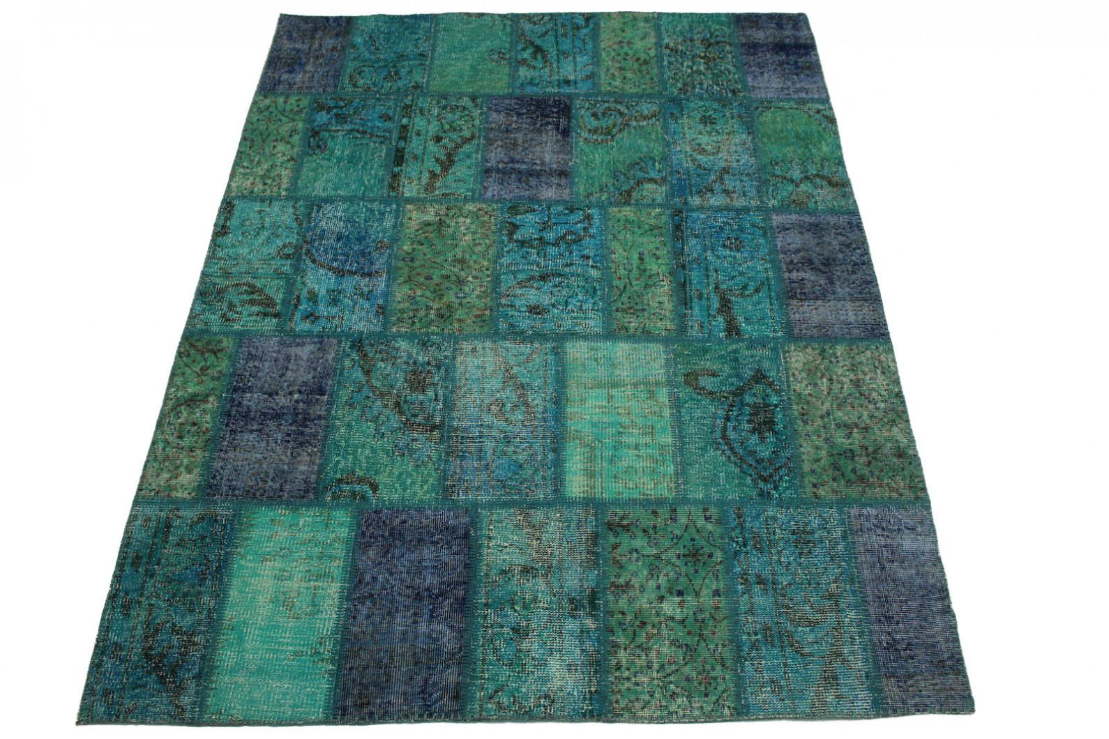 Patchwork Teppich Türkis in 200x170cm