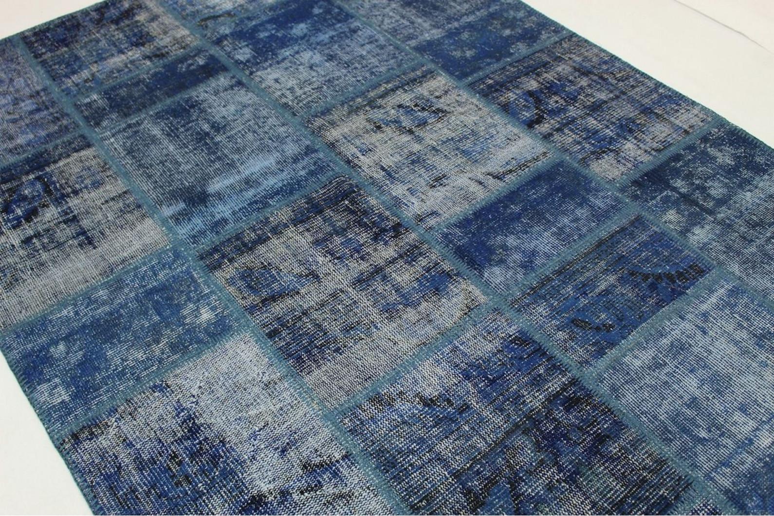 patchwork teppich blau in 240x170cm 1011 5007 bei. Black Bedroom Furniture Sets. Home Design Ideas