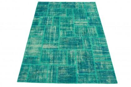 Patchwork Teppich Türkis in 300x220cm