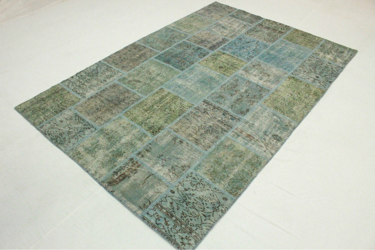 patchwork teppich gr n t rkis in 300x200cm 1011 7279 bei kaufen. Black Bedroom Furniture Sets. Home Design Ideas