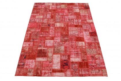 Patchwork Teppich Rot in 300x210cm