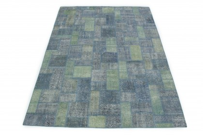 Patchwork Rug Gray Green Blue in 300x210