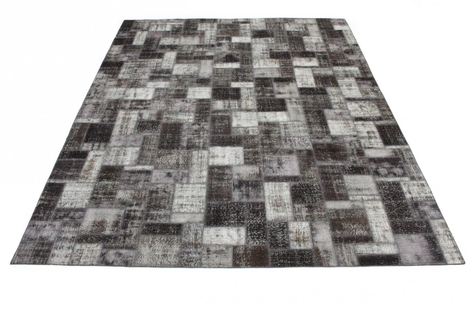 Patchwork Teppich Grau Schwarz in 400x310