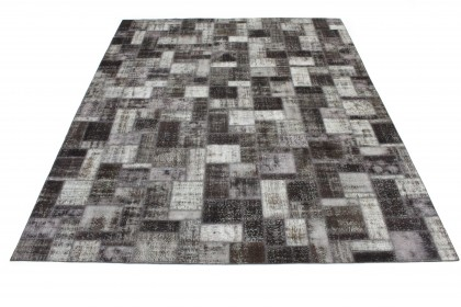 Patchwork Rug Gray Black in 400x310