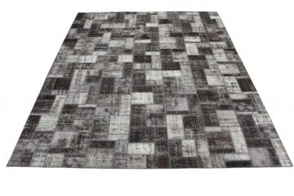 Patchwork Teppich Grau Schwarz in 400x310 1011-7806