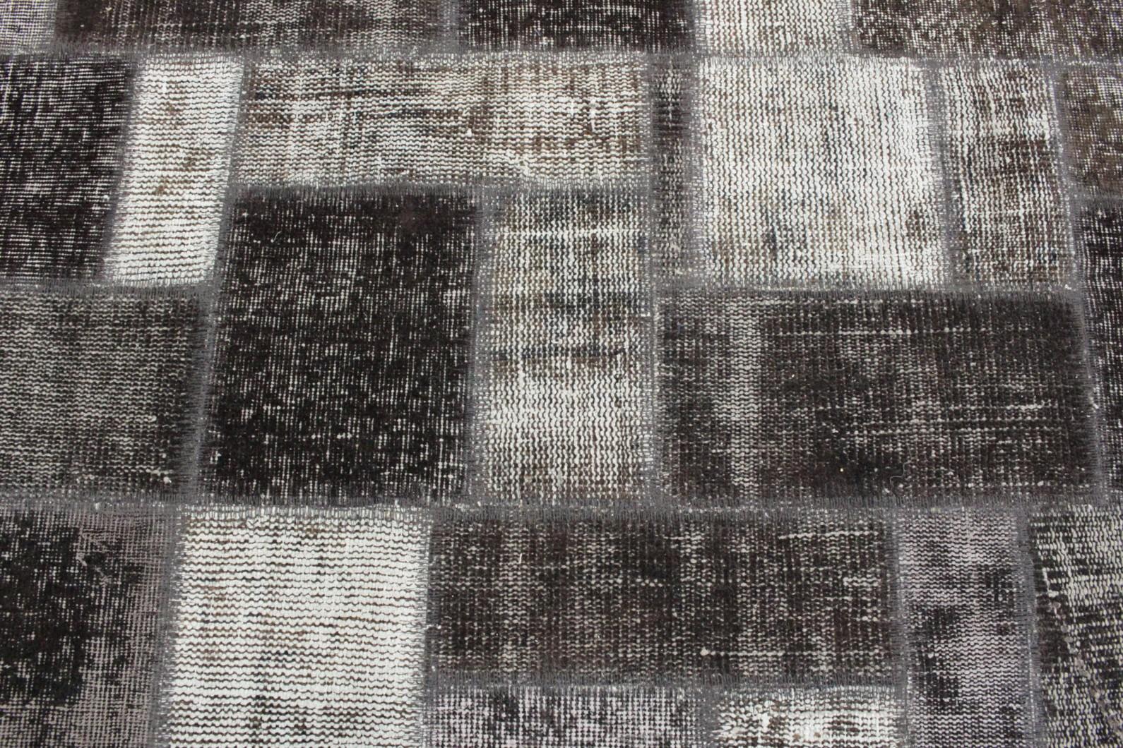 Patchwork teppich grau schwarz in  bei