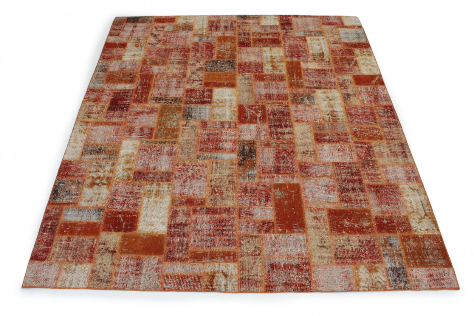 Patchwork Teppich Orange in 300x260