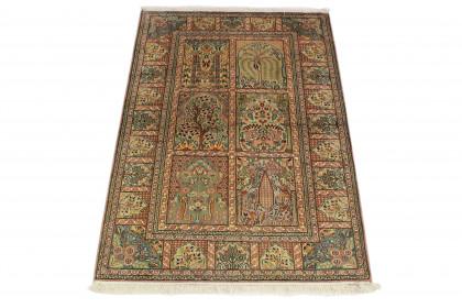 Seidenteppich Grün Beige in 150x100 5140-1486