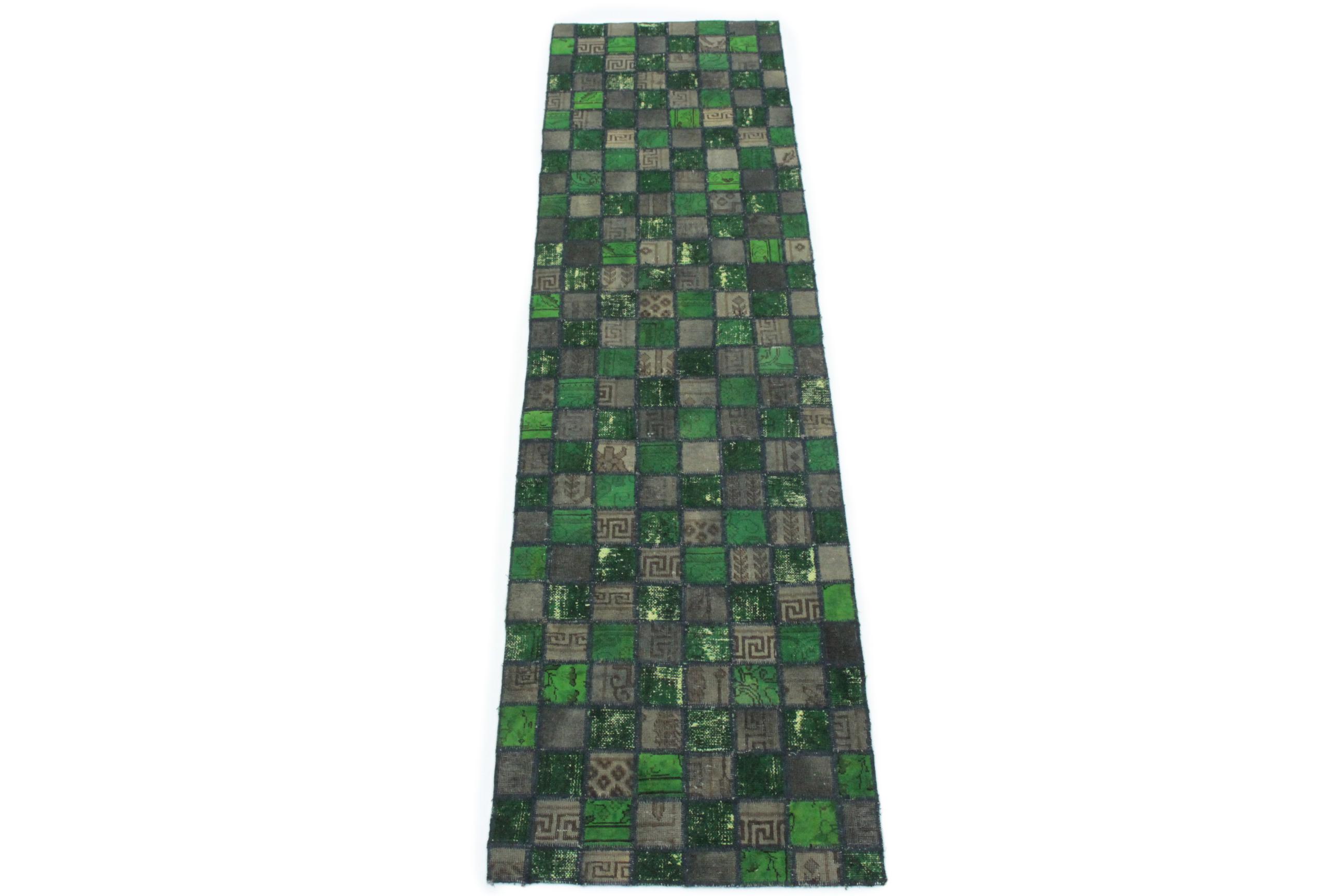 patchwork teppich l ufer gr n schlamm in 310x80 1001 167112 bei kaufen. Black Bedroom Furniture Sets. Home Design Ideas