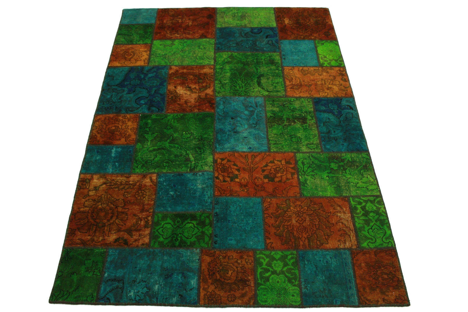 patchwork teppich orange gr n t rkis in 240x160cm 1001 2065 bei kaufen. Black Bedroom Furniture Sets. Home Design Ideas