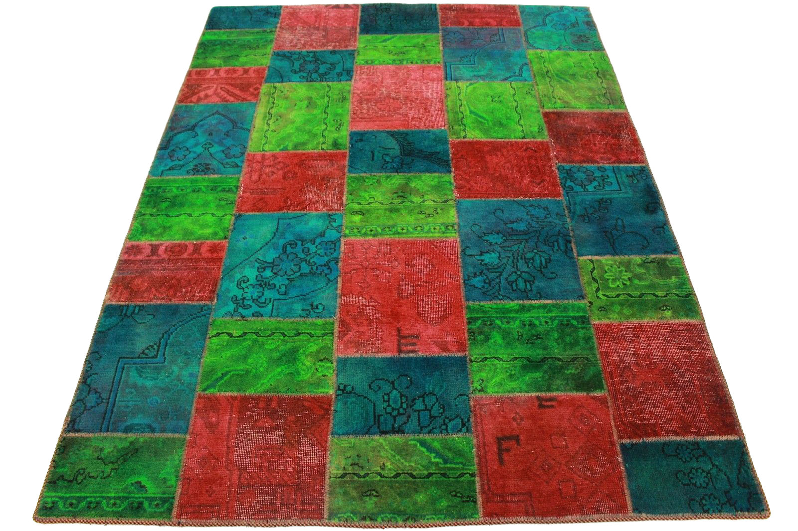 patchwork rug green red turquoise in 200x150cm 1001 2537 buy online at. Black Bedroom Furniture Sets. Home Design Ideas
