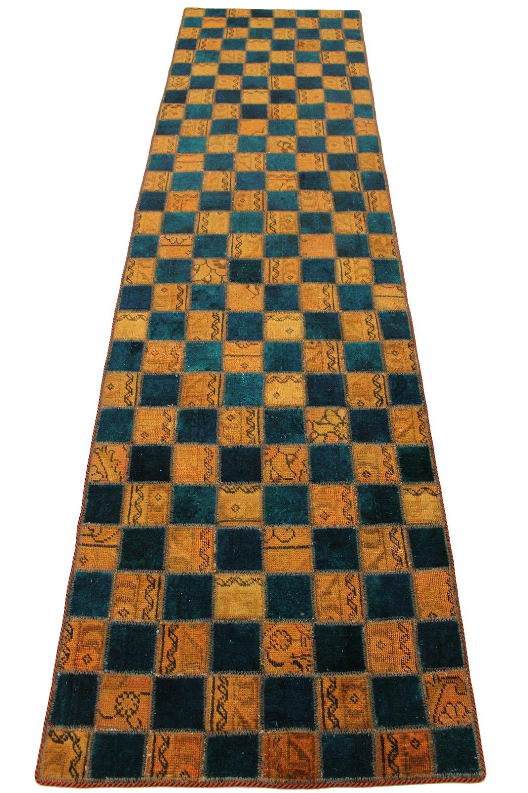 Patchwork Teppich Blau Curry in 310x80cm (10012686) bei