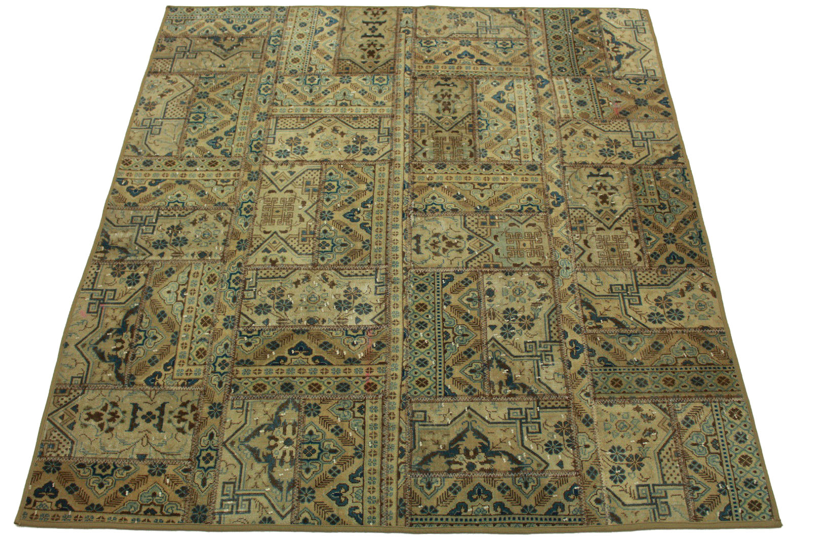 patchwork teppich blau beige in 200x180cm 1001 825 bei kaufen. Black Bedroom Furniture Sets. Home Design Ideas