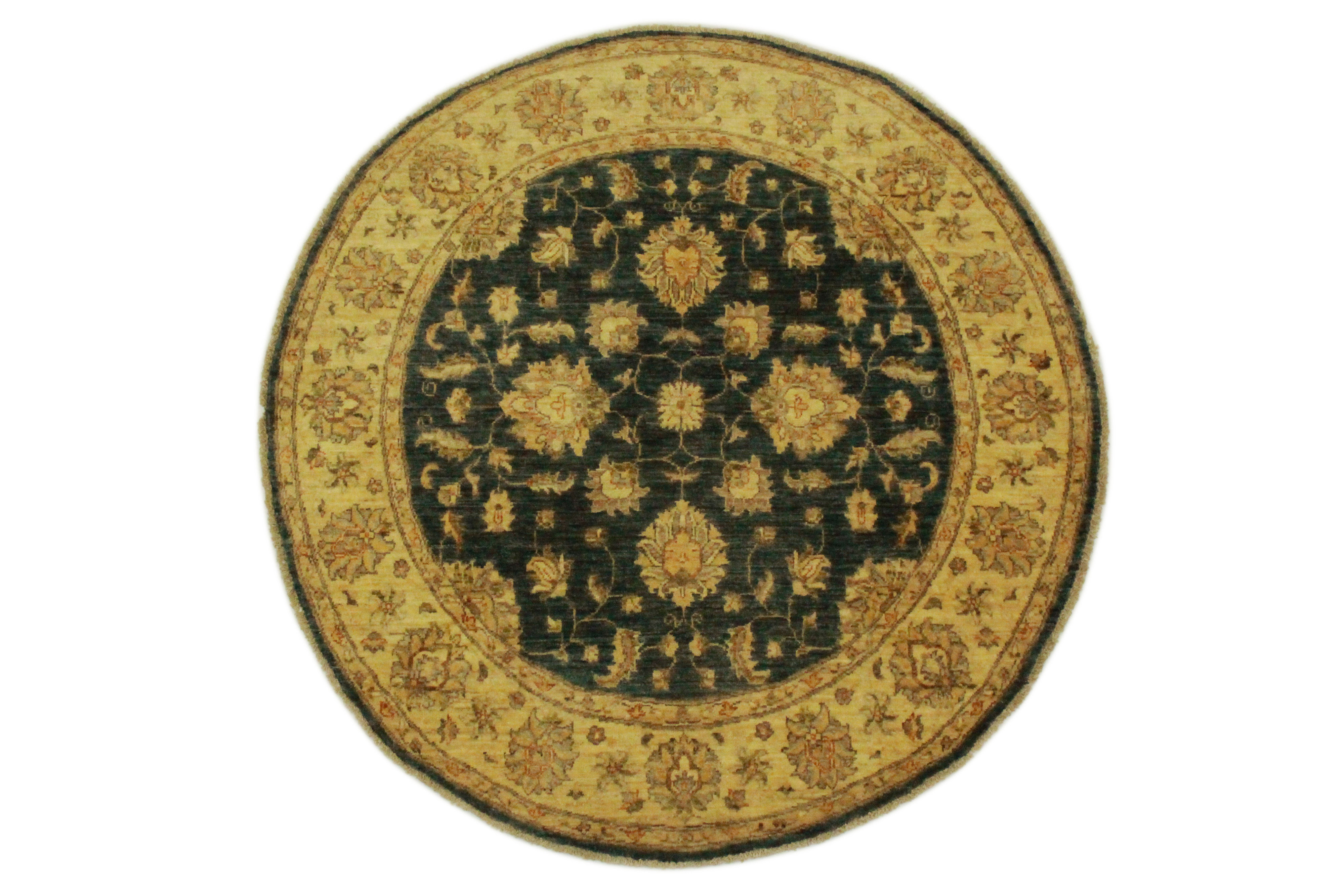 ziegler teppich rund beige dunkelblau in 150x150cm 5001. Black Bedroom Furniture Sets. Home Design Ideas